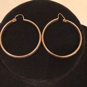 Vintage Floral Engraved Hoop Earrings